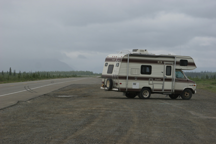 RV and stormy sky