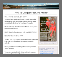 How To Conquer Fear And Anxiety Etc.